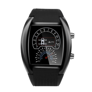 2019 New Fashion Creative Men's Fashion LED Light Flash Turbo Speedometer Sports Car Dial Decorative Meter Watch Zegarek #D