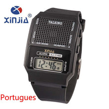Load image into Gallery viewer, Simple Old Men and Women Talking Watch Speak Spanish Portugues Electronic Digital Sports WristWatches For The Blind People Elder