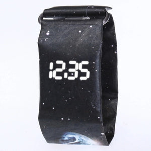 Creative Trend Newspaper White LED Digital Watch Mens Women Waterproof Strap Paper Sport Student Digital Watch Relogio Masculino