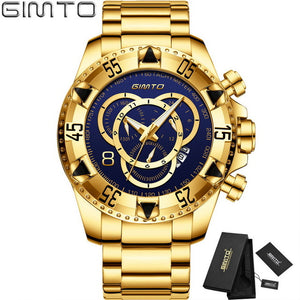 2018 Top Brand Luxury Men Watches Gold Business Steel Clock Quartz Waterproof Sport Military Male Wristwatch Relogio Masculino