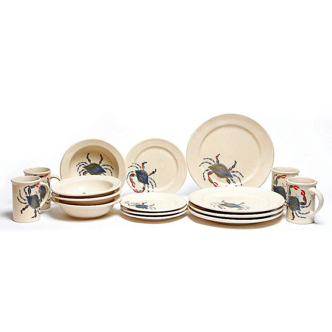 Blue Crab Classic Dinner Plate Set for Four