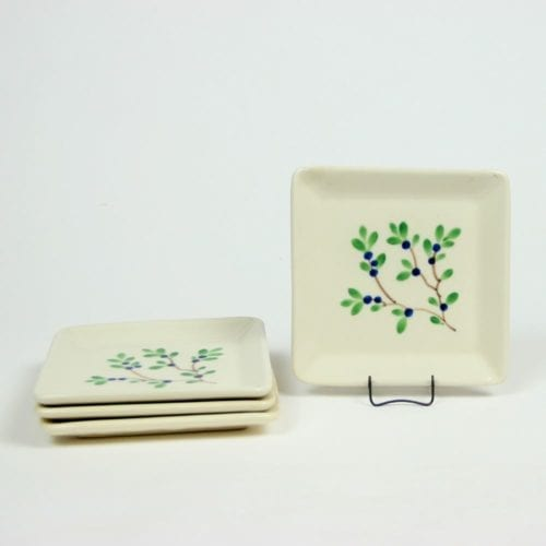 Blueberry Square Appetizer Plate Set of Four