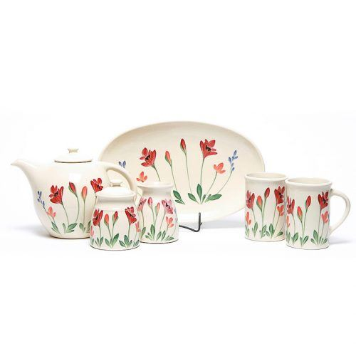 Red Poppy Tea Set