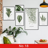 Nordic Green Leaves Wall Stickers for Bedroom