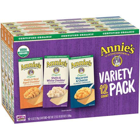 Annie's Organic Homegrown Macaroni & Cheese, Variety Pack, 6 oz, 12-pack
