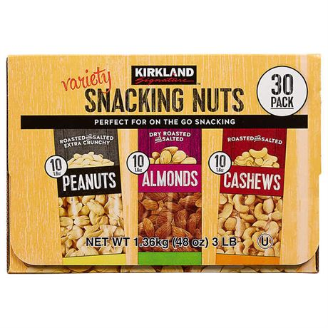 Kirkland Signature Snacking Nuts, Variety Pack, 1.6 oz, 30-count