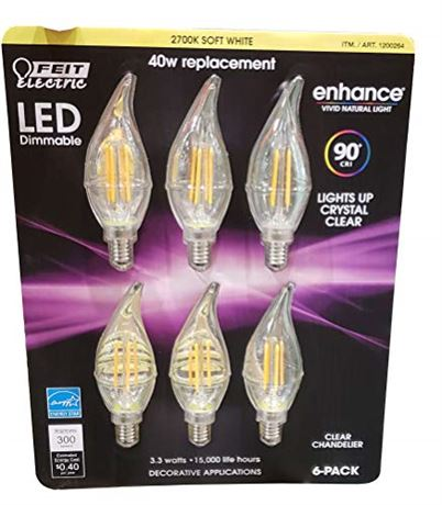Feit Electric Led Chandelier Bulbs 40W 6 Pack Soft White