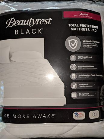 Beautyrest Black Queen Size Mattress Pad Total Protection, Queen
