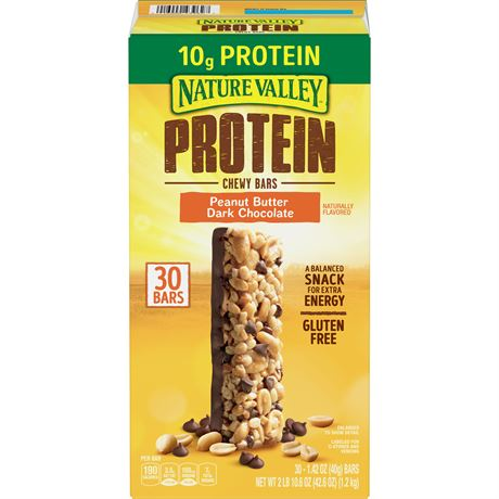 Nature Valley Protein Bar, Peanut Butter Dark Chocolate, 1.42 oz, 30-count