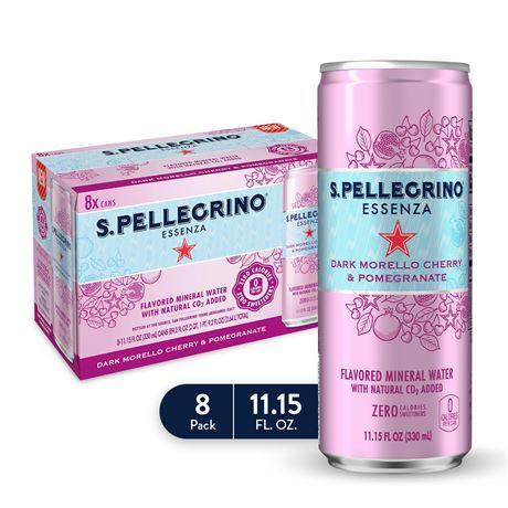 S.Pellegrino Essenza Dark Morello Cherry & Pomegranate Flavored Mineral Water,