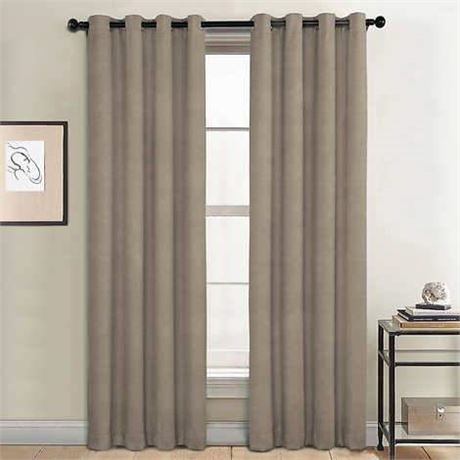 SunBlk Total Blackout Curtains 2-Panels Everly Khaki