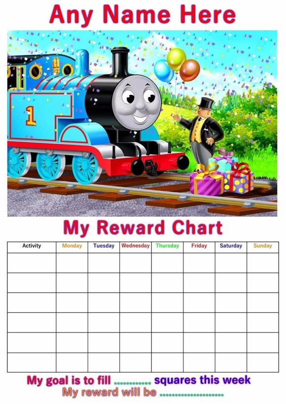 Personalised Thomas the Tank Engine Reward Chart A4