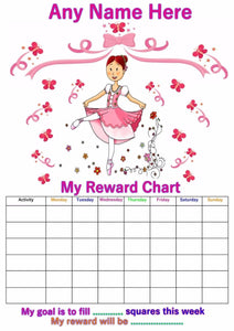 Personalised Ballet Girl Reward Chart A4