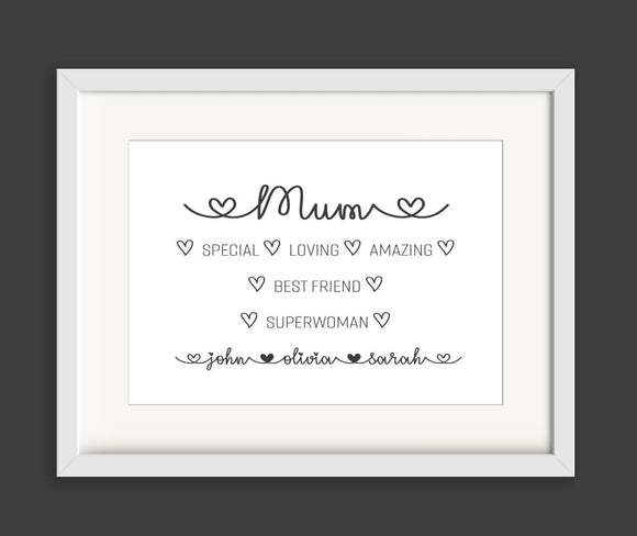 Mum Empowering Descriptive Words Personalised A4 Print