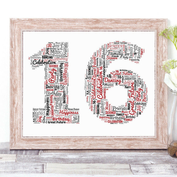 Personalised 16th Birthday Number WordArt A4 Print