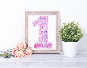 Personalised 1st Birthday Number One WordArt A4 Print