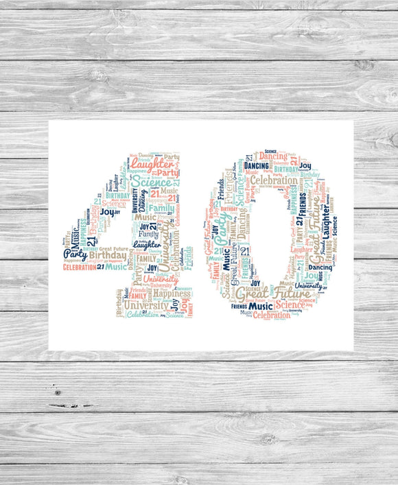 Personalised 40th Birthday Number WordArt A4 Print