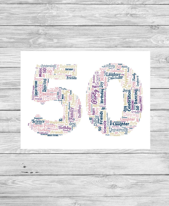 Personalised 50th Birthday Number WordArt A4 Print