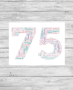Personalised 75th Birthday Number WordArt A4 Print