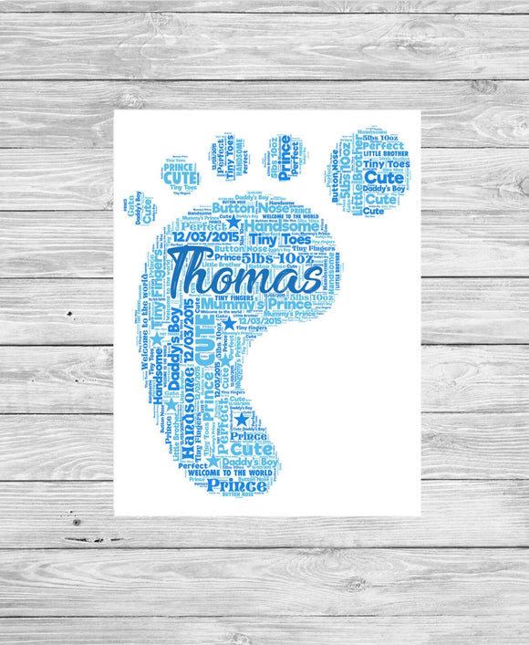 Personalised Baby Boy Foot Print WordArt A4 Print
