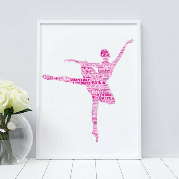 Personalised Ballet Dancer WordArt A4 Print