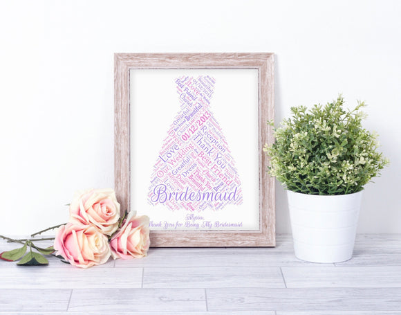 Personalised Bridesmaid Thank You WordArt A4 Print