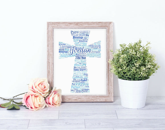 Personalised Christening Baptism Cross Gift WordArt A4 Print