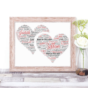 Personalised Double Heart WordArt A4 Print