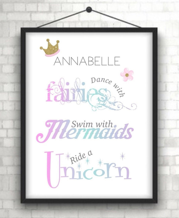 Personalised Fairies Mermaids and Unicorn Girls A4 Print