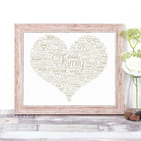 Personalised Family Love Heart WordArt A4 Print
