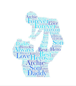 Personalised Fathers Day Daddy Lifting Child WordArt A4 Print
