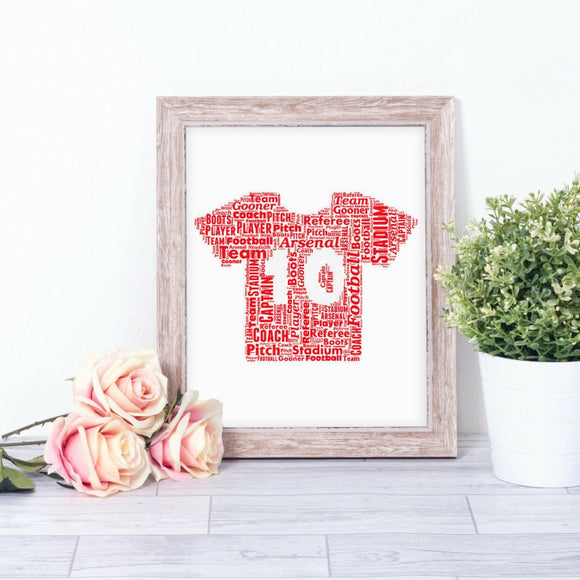 Personalised Football Shirt WordArt A4 Print