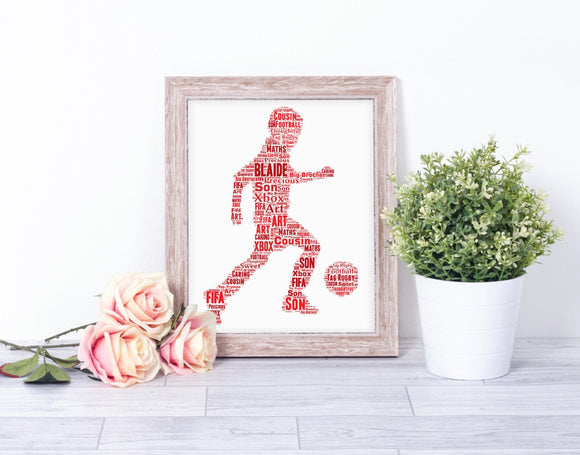 Personalised Footballer Boy WordArt A4 Print