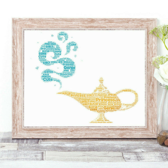 Personalised Genie and Lamp WordArt A4 Print