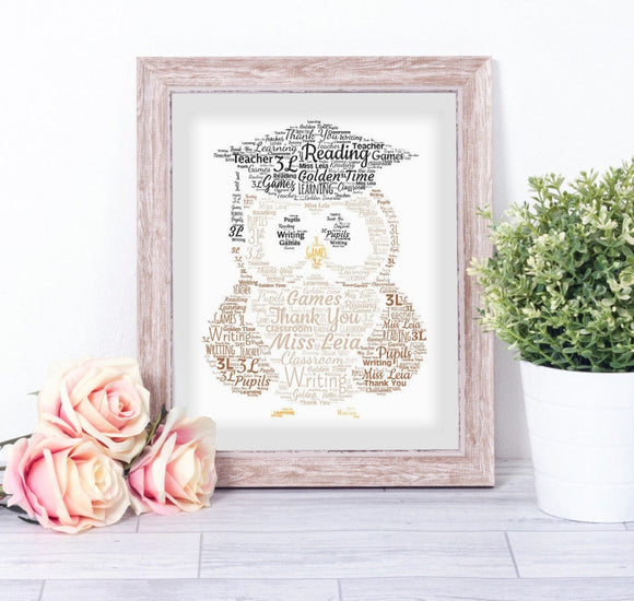 Personalised Graduation Owl WordArt A4 Print