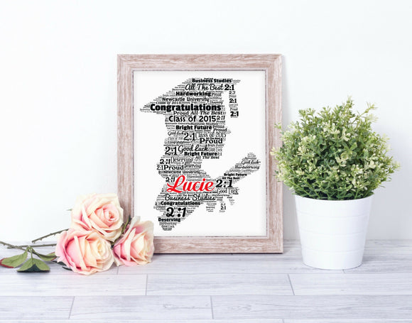 Personalised Graduation WordArt A4 Print
