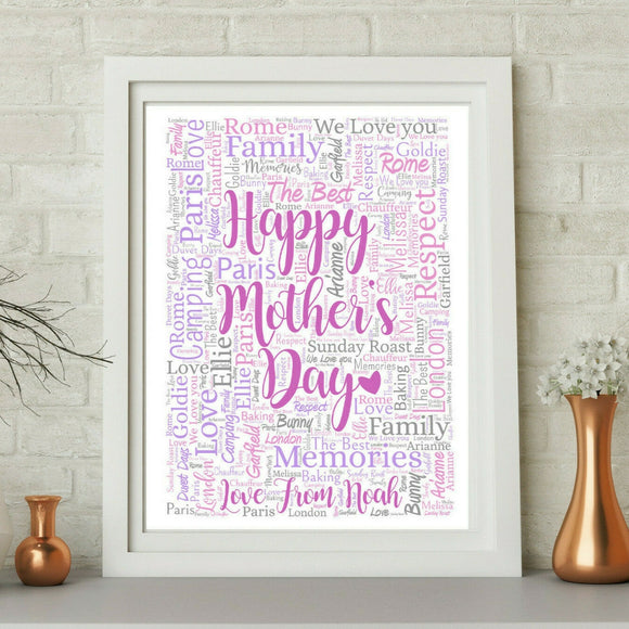 Personalised Happy Mothers Day WordArt A4 Print