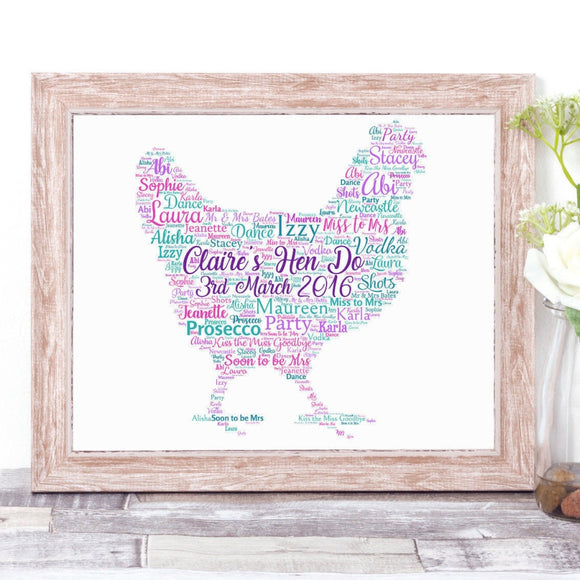 Personalised Hen Bridal Party Hen Do WordArt A4 Print