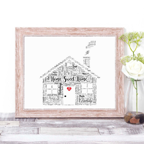 Personalised Home Sweet Home House WordArt A4 Print