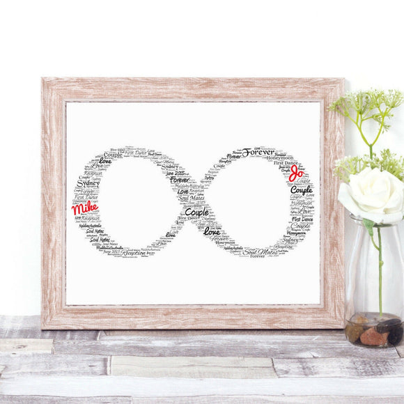 Personalised Infinity Symbol Romantic WordArt A4 Print