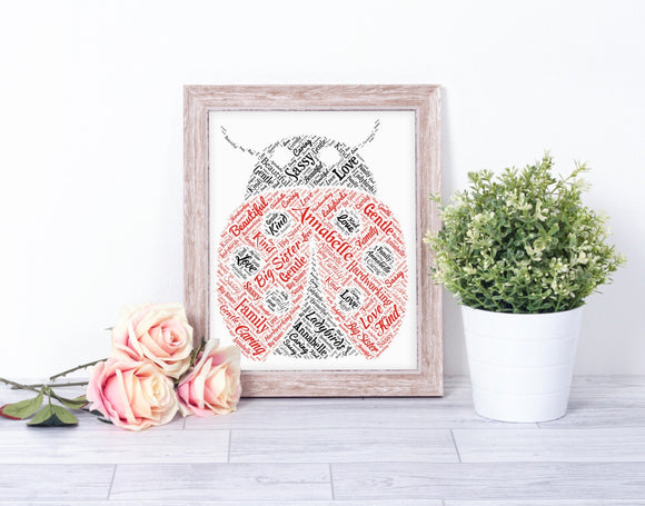 Personalised Ladybird WordArt A4 Print