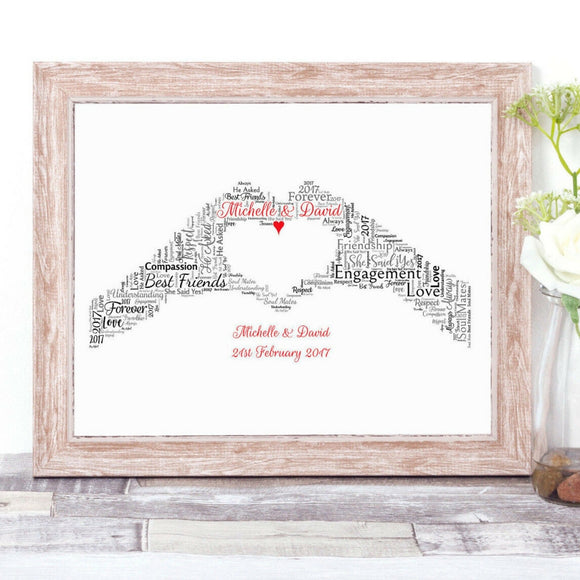 Personalised Love Heart Made By Hands WordArt A4 Print
