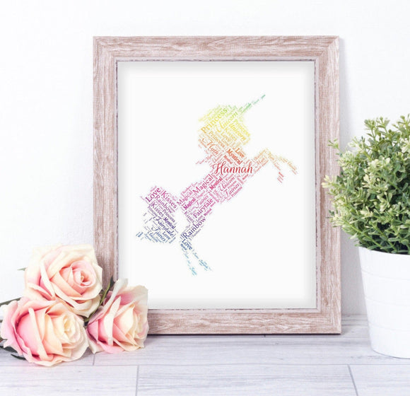 Personalised Magical Unicorn WordArt A4 Print