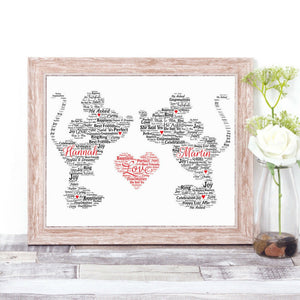 Personalised Minnie and Mickey Mouse Kiss Love Heart WordArt A4 Print
