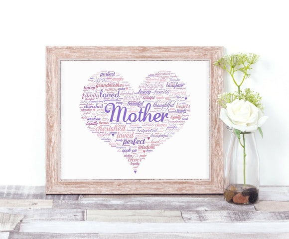 Personalised Mother Heart Shaped WordArt A4 Print