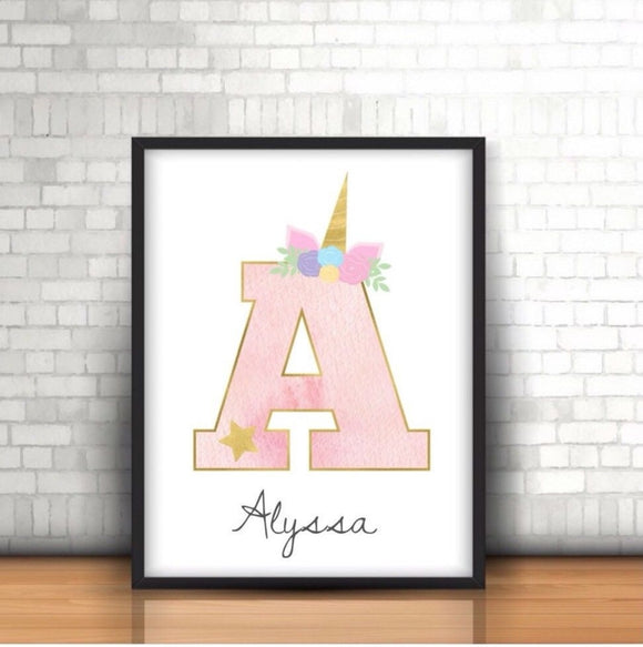 Personalised Name Letter Unicorn A4 Print