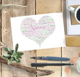 Personalised Nanna Heart Shaped WordArt A4 Print