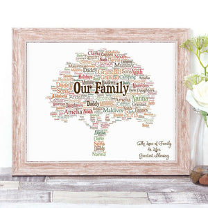 Personalised Our Family Tree WordArt A4 Print