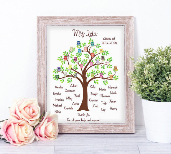 Personalised Owl Teacher Class Tree A4 Print