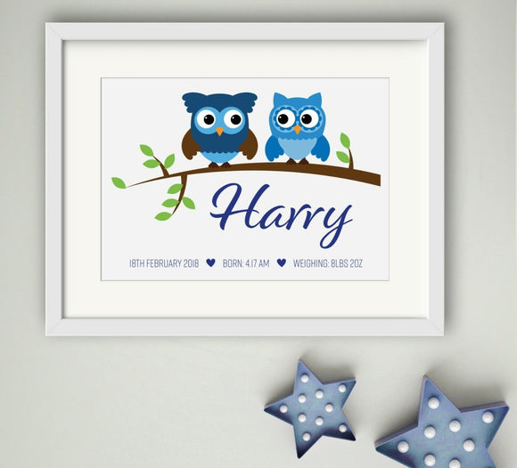 Personalised Owl Theme Boys A4 Print